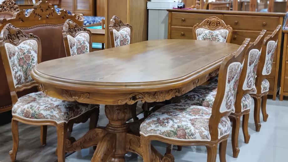 โต๊ะอาหารไม้สักแท้ขนาด 3เมตร สำหรับ 8ที่นั่ง